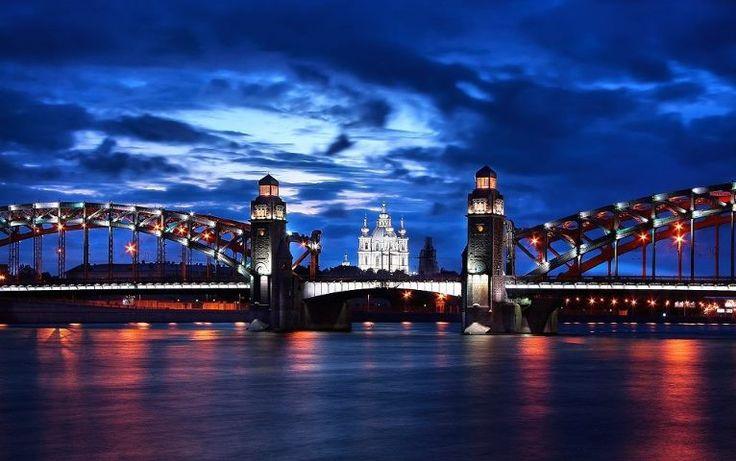 Bolsheokhtinsky bridge (Bridge of Emperor Peter the Great), St. Petersburg, Russia
