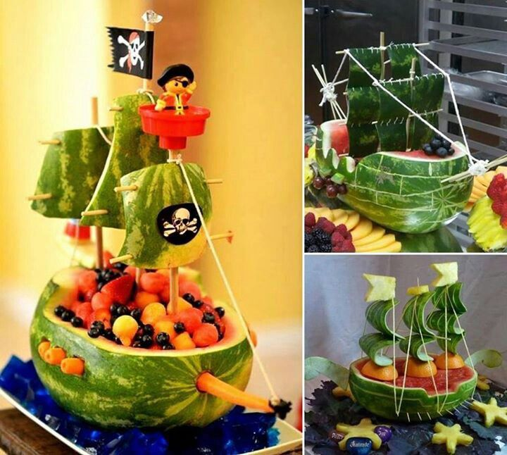 Pirate food:-) i'd still go with the paper sails, but I like the lego figures, this is where we could put the pirates of the carribean figures!