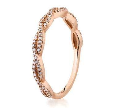 KRUK pierścionek diamenty różowe czerwone złoto 13