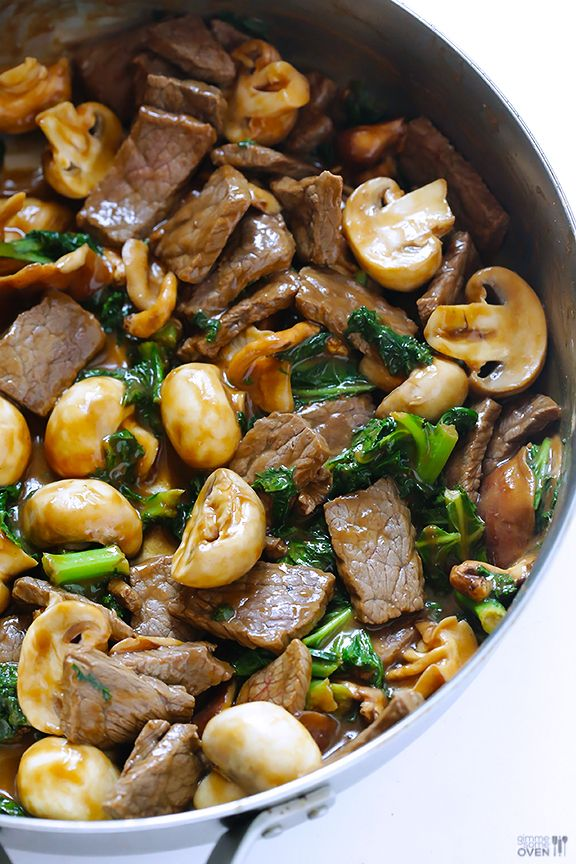 Ginger Beef, Mushroom  Kale Stir Fry by gimmesomeoven: A total crowd-pleaser that can be ready in less than 30 minutes. #Stir_Fry #Beef #Mushroom #Kale #Healthy #Fast