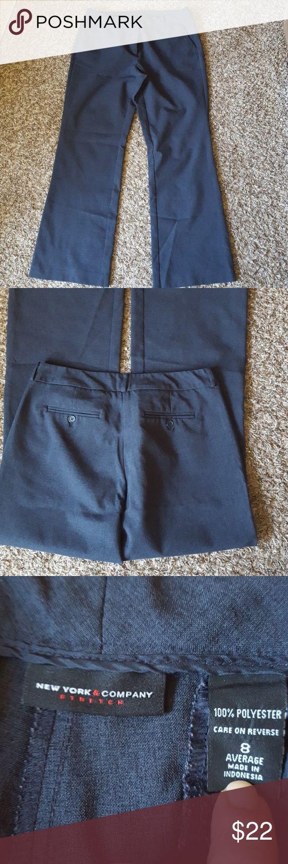 "Pants Heather navy trousers, ETC, size 8 Average, 29"" inseam, straight leg, 32"" waist, stretch New York & Company Pants Straight Leg"