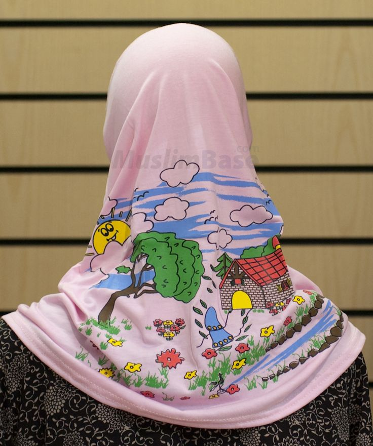 FUN Hijab or headscarf for nursery nurses or other early year's practitioner's - Cartoon Hijab in Pink - it sure is one of a kind!