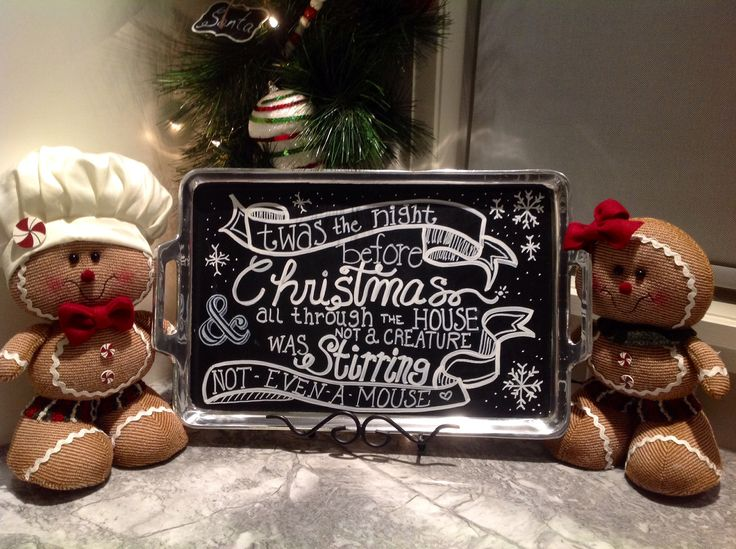 Christmas chalkboard serving tray