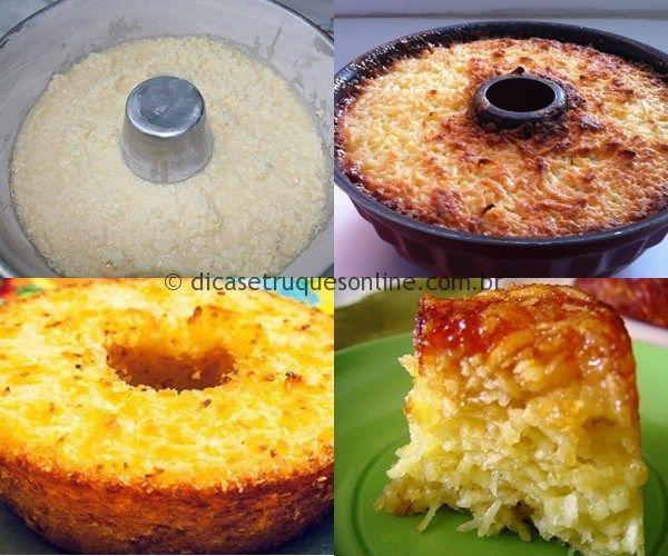 Ingredientes 1 Xícara de coco ralado 2 Xícaras de açúcar 500 Gramas de macaxeira cozida 2 Colheres de manteiga derretida 3 Ovos 1/2 Lata de leite Preparo 1 – Despeje todos os