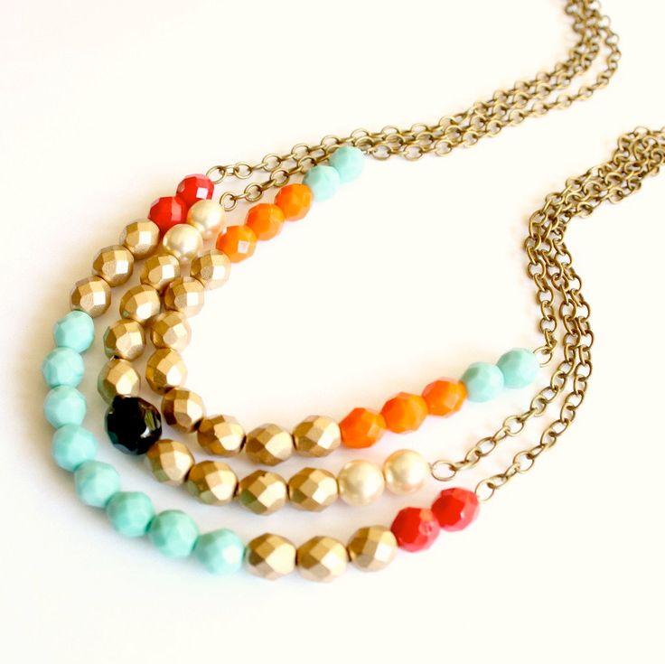 Triple Strand Colorblock Beaded Necklace. $65.00, via Etsy.