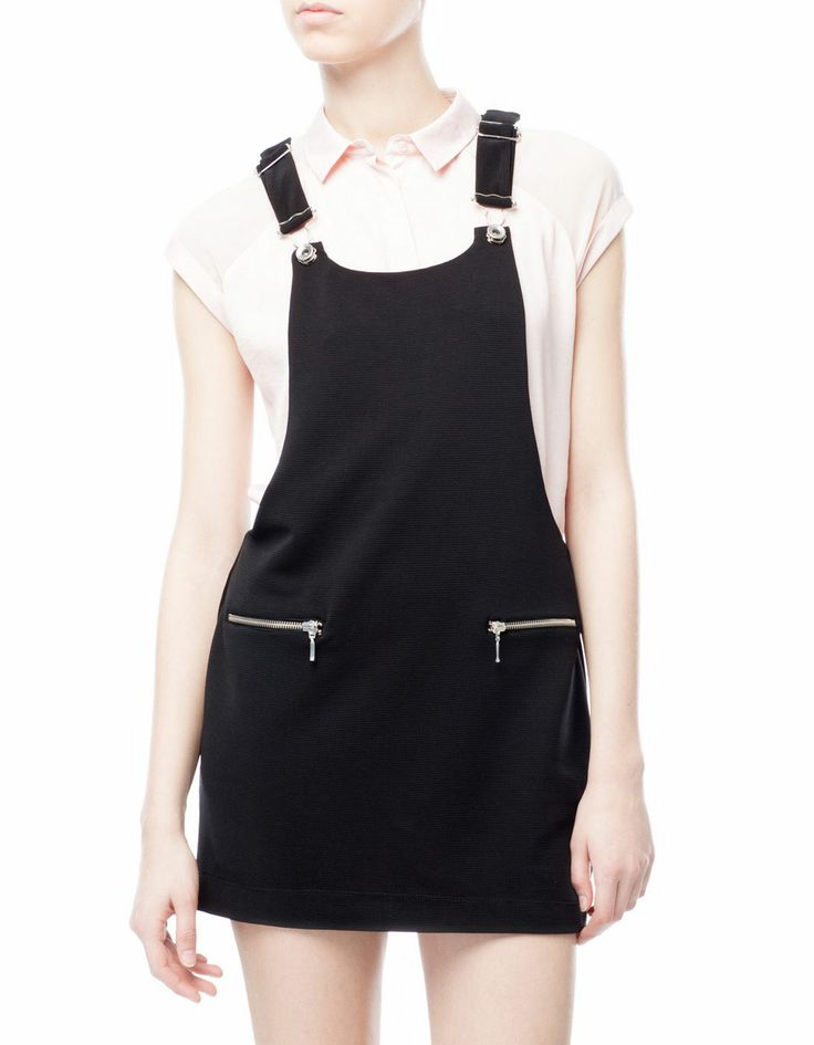 Pinafore dress with zip detail