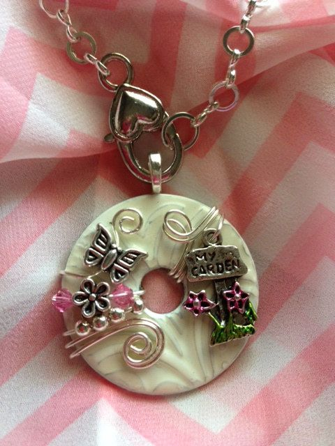 66 best pendants by washer wear images on pinterest washing adorable pink and white garden themed washer pendant with optional chain aloadofball Choice Image