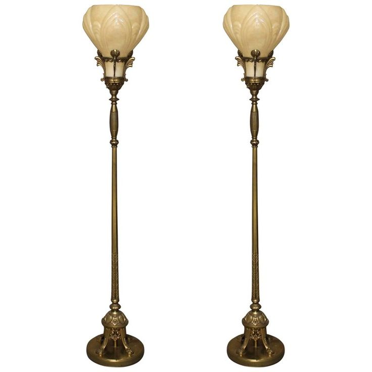 Pair of Art Deco Torchiere Floor Lamps | From a unique collection of antique and modern floor lamps at https://www.1stdibs.com/furniture/lighting/floor-lamps/