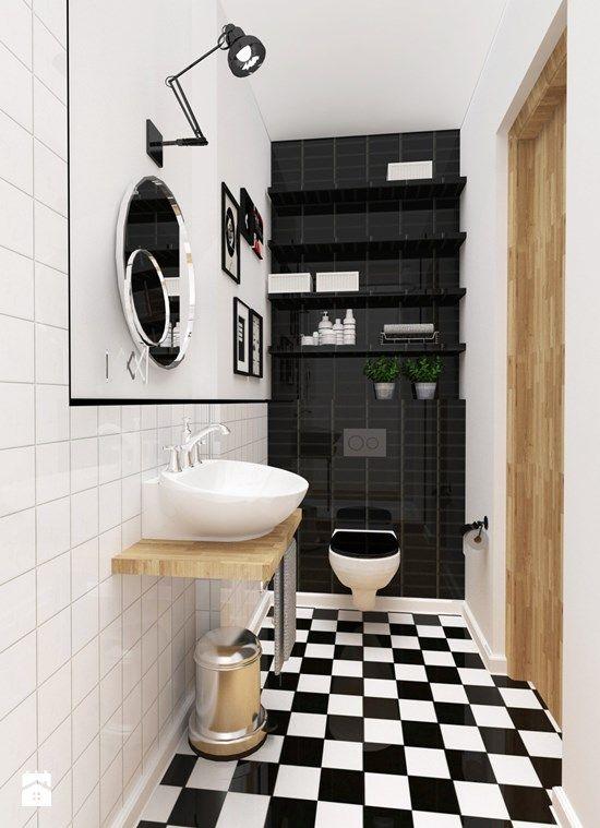 Fajne czarne płytki nad toaletą + fajna umywalka + szachownica - łazienka idealna