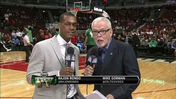 CSNNE.com (@Alan Neuroth) tweeted at 8:15 PM on Mon, Mar 31, 2014: The announce team for tonight's #Celtics vs. #Bulls game. @Rajon Rondo and @Celticsvoice