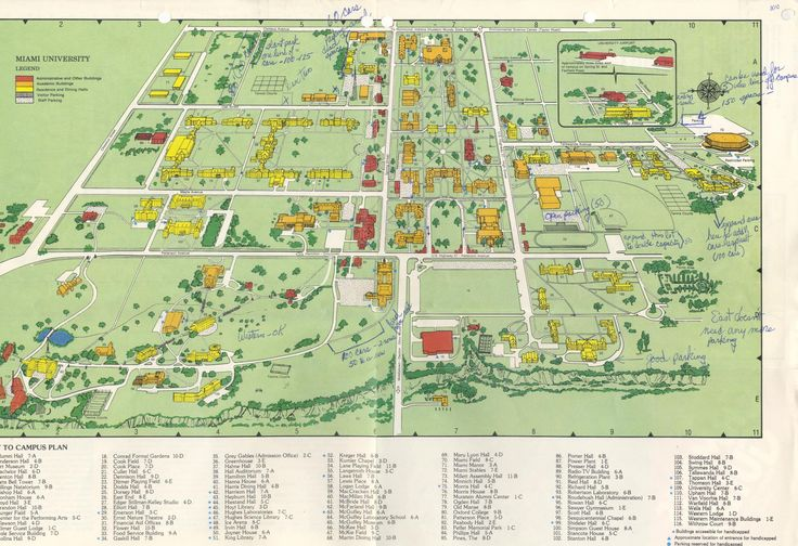 Source: MU Archives. In a map of Miami University's campus from ca 1979, markings show that there was discussion about creating new parking areas.