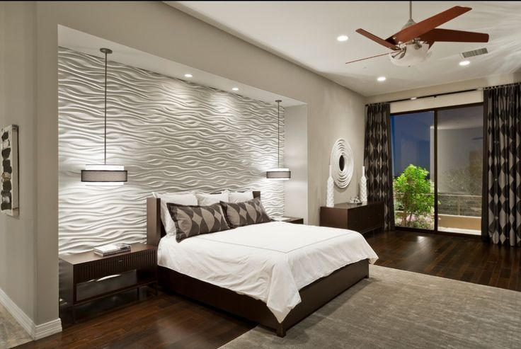 Modern bedroom with textured pattern wall panels Want this lighted wall for my bedroom.
