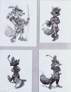 Ken Anderson Concept Art - Disney's Robin Hood. <- Literal character sketches. . . .