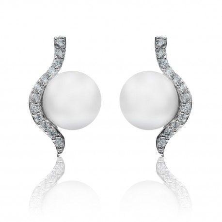Stříbrné náušnice vlnka s perlou a zirkony