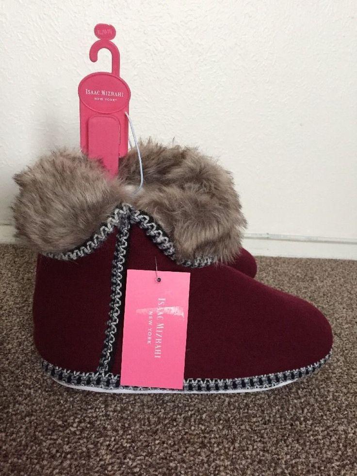 ISAAC MIZRAHI ladies slippers Boots size XL (10-11) UK6-7 BNWT RRP$32 Burgundy