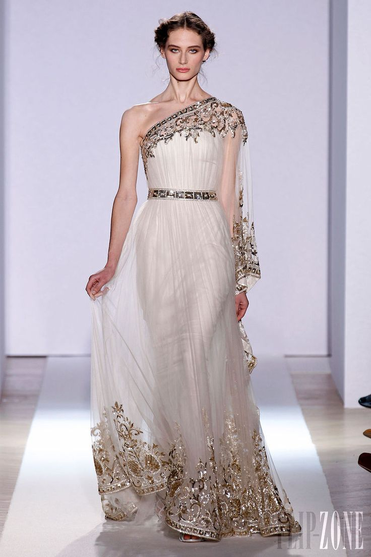 Zuhair Murad - Couture - Official pictures, S/S 2013 - http://en.flip-zone.com/fashion/couture-1/fashion-houses/zuhair-murad-3366 - Long asymmetrical dress in chalk colored silk tulle and platinum embroidery.