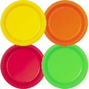 Plastic Plates Bulk Pack of 32 in Mixed Bright Colours 9 Inch  sc 1 st  Pinterest & 20 best Party - plates and cutlery images on Pinterest | Shun ...