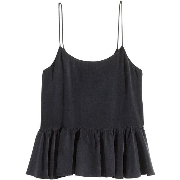 H&M Peplum Camisole Top $19.99 ($20) ❤ liked on Polyvore featuring tops, shirts, tank tops, h&m, tanks, camisole tank, peplum shirt, flare shirts, cami shirt and woven top