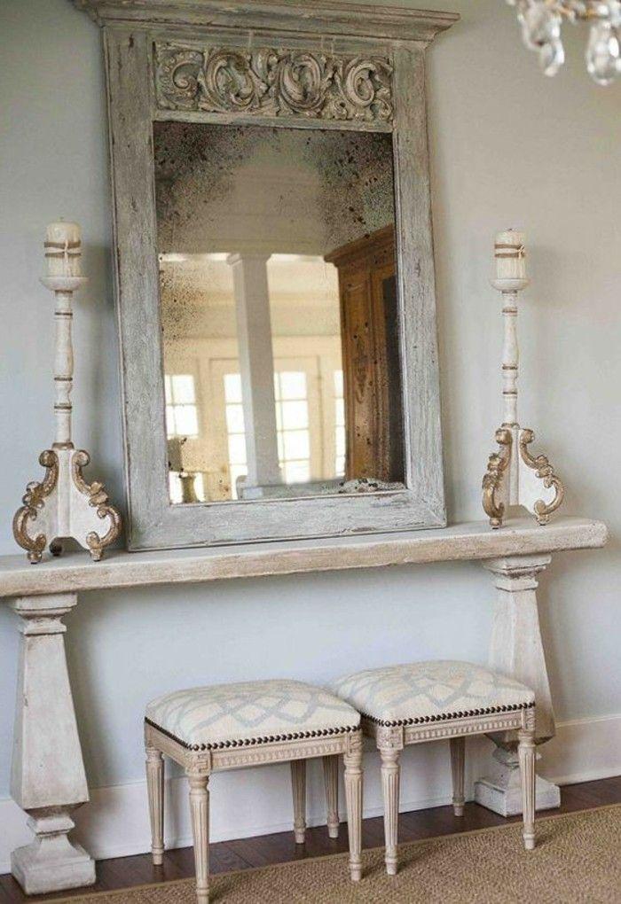 Miroir Ancien Bois Et Peinture Gris Clair Miroir Foyer