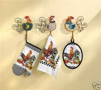 Rooster Lamps For Kitchen Country Set Oven Mitt Towel Pot Holder