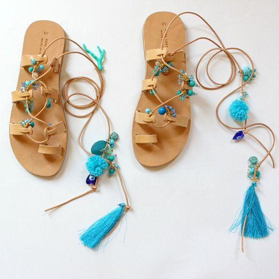 Trendy Sandals: Boho Sandals, Handmade Sandals, Women's Gladiators, Bohemian Sandals, Pom Pons Gladiators, Greek Barefoot Sandals, Leather Sandals