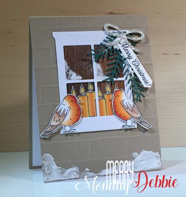 Debbie's Designs: Merry Monday Challenge 276. Stampin' Up! Color Me Happy, Merry Patterns, Wood Textures DSP,Brick Wall Embossing Folder, Pretty Pines Dies & Embossing Paste, Debbie Henderson #stampinup #merrymonday #colormehappy #merrypatterns #brickwall #prettypines #debbiehenderson #debbiesdesigns #merrymonday #merrymondaychallenge