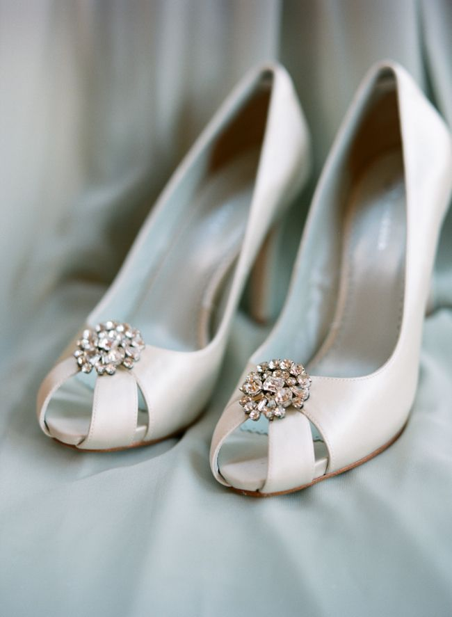 White wedding shoes with sparkles on top