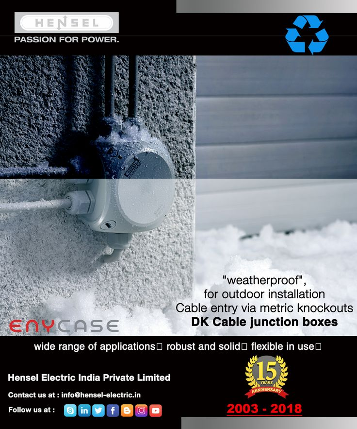 #Hensel #Weatherproof, for #outdoorinstallation Cable entry via metric knockouts • Degree of protection IP 66 / IP 67 / IP 69 with #cableglands as accessories. • Cable entry through the bottom of the box via #integratedelasticmembrane. • Weatherproof: #UV_resistant, #rainwater_proof, #temperature_resistant. • Burning behavior: #Glow_wire_test in accordance with IEC 60695-2-11: 960 °C, flame-retardant