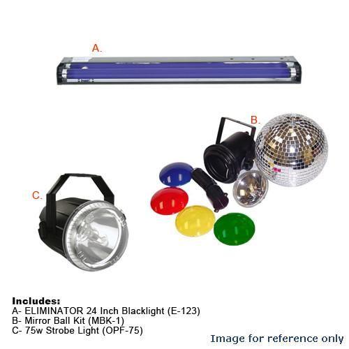 OPTIMA Mirror Ball Kit w/ Strobe Light + Blacklight Party Kit