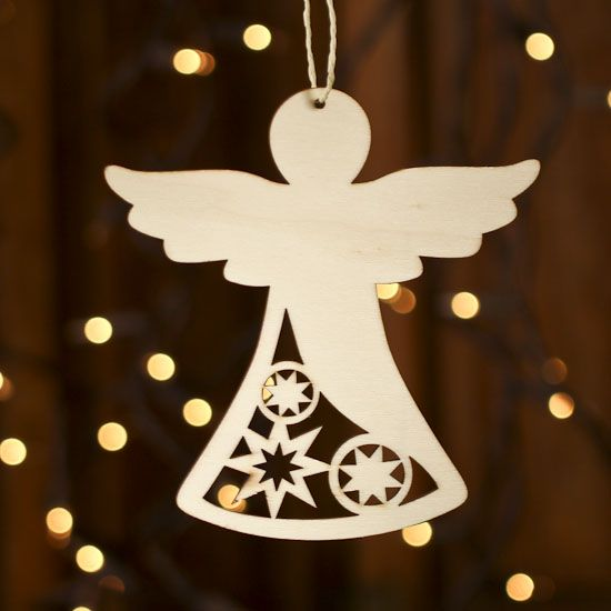 Unfinished Wood Laser Cut Angel Ornament
