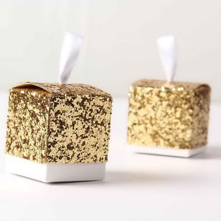 """""""All That Glitters"""" Gold Silver Glitter Favor Box For Wedding Guest 60pcs - Wedding Look"""