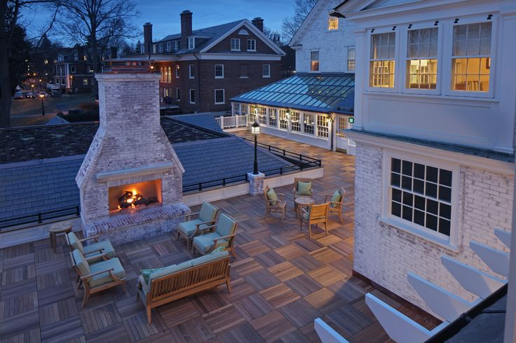 Amherst Hotels Massachusetts | Lord Jeffery Inn uses bison deck supports and Bison ipe wood deck tiles to complete this beautiful rooftop terrace for weddings