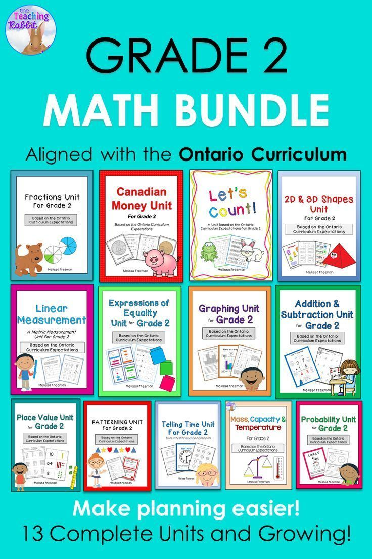 This Ontario Curriculum Math Bundle for Grade 2 has lesson ideas, activities, worksheets, posters, assessments, quizzes, and games.  The units covered are: Place Value, Patterning, Shapes, Money, Time, Graphing, Probability, Equal Equations, Linear Measurement, Fractions, Counting, Addition & Subtraction, and Mass, Capacity & Temperature.