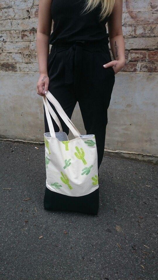 Handpainted cactus tote bag