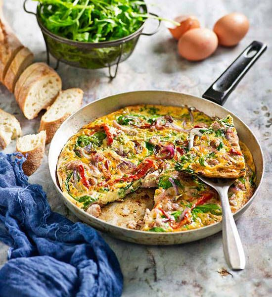 Sausage and red capsicum frittata: Don't feel limited by this set of ingredients – frittatas can also be used to rid the fridge of leftovers.
