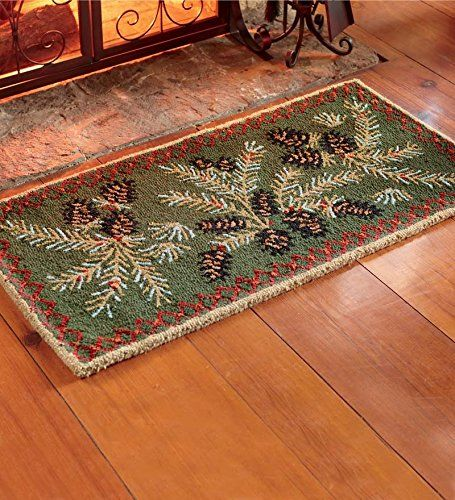 Fireplace Rug Fire Resistant: Fire-Resistant Hooked Wool Pine Cone Hearth Rug Plow