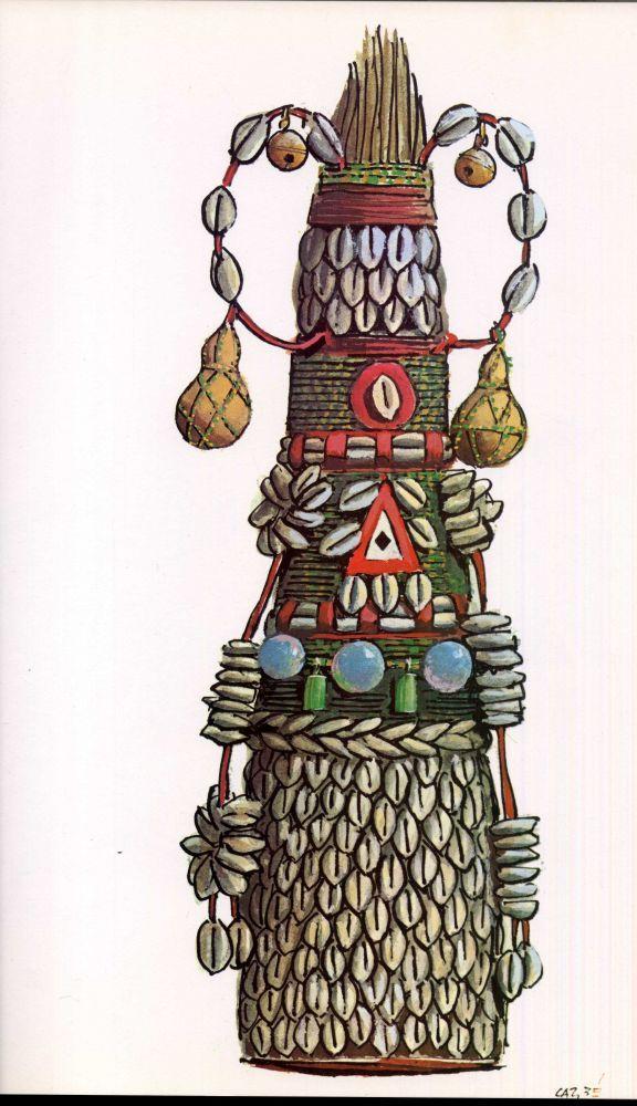 xaxará de Obaluaiê. Com esta vassoura feita de palha da costa e bordada com búzios e cabaças, o orixá das epidemias e das doenças, da saúde e da cura pode afastar os males ou lançá-los contra seus inimigos.   -    Iconografia dos Deuses Africanos No Candomblé da Bahia | Waldeloir Rego | First Edition