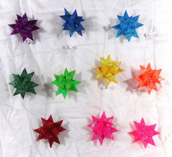 Set of 10 Handmade Wax Dipped Origami Froebel Star Ornaments In Bright Rainbow Colors