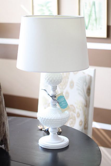 Great milk glass lamp makeover!!