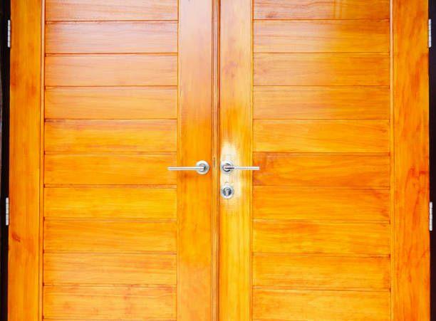 close up brown modern wooden door