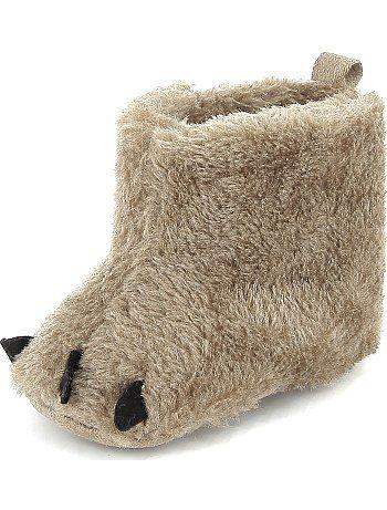 Chaussons boots fourrés style patte d'ours gris beige Bébé garçon - Kiabi
