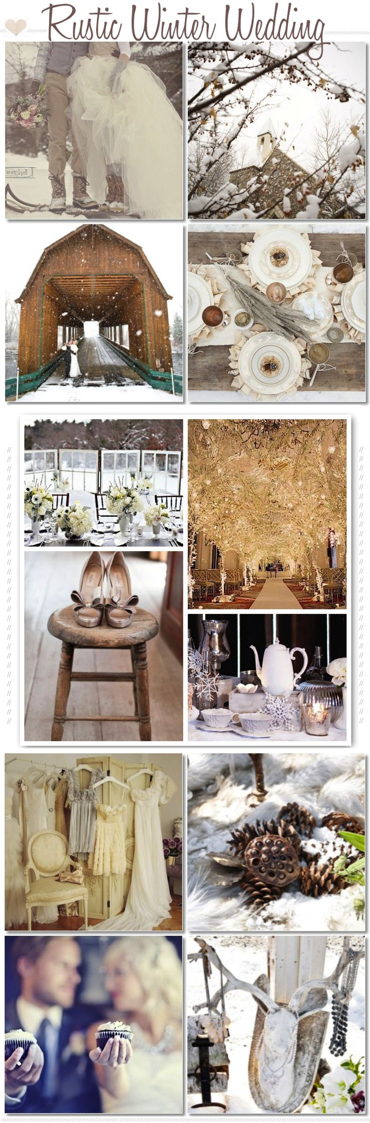 rustic winter wedding...I wouldn't want an winter wedding but this really pretty. Slightly makes me think of Narnia.