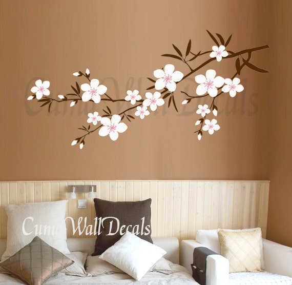 Cherry blossom wall decals Nursery wall sticker Branch vinyl wall decal Children wall decals nature - branch with flower Z162 Cuma. $37.00, via Etsy.
