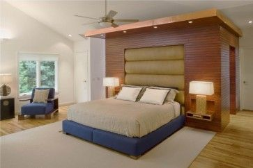 We could do a really cool headboard to your bed like this one. I love upholstered head boards and this one is framed in. Nice!