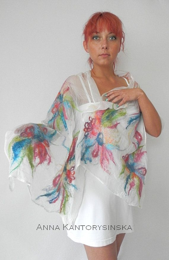 Nuno fieltro seda bufanda mantón arte hecho a por kantorysinska