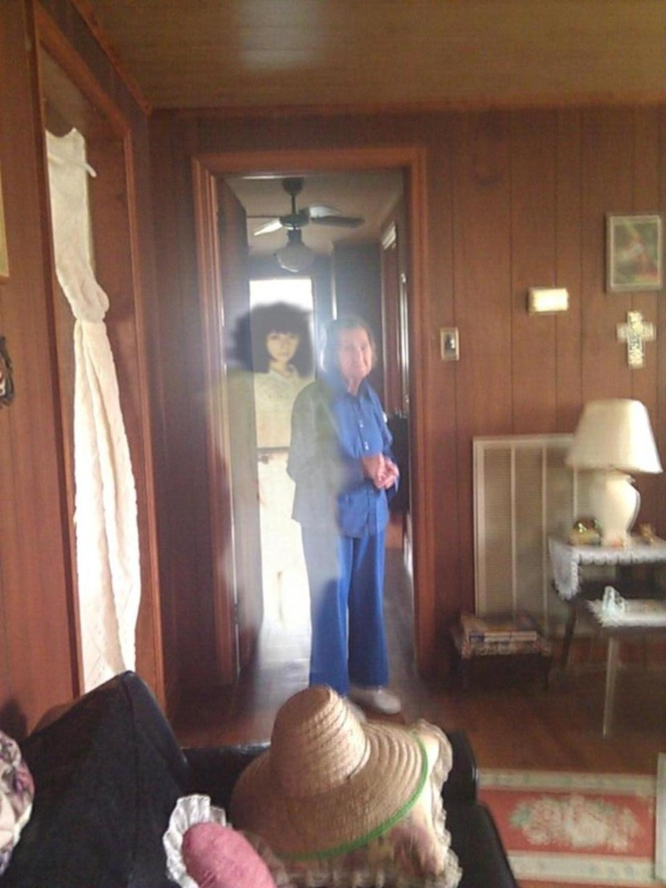Do you believe in ghosts?  I'm still a little skeptical but after seeing a ghost picture like this one leads me to wonder.    The picture was taken by a young woman in western NC, at the time this young woman was helping a older lady out around the house.