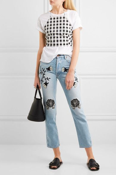 Bliss and Mischief - Conjure Embroidered High-rise Straight-leg Jeans - Light denim - 32