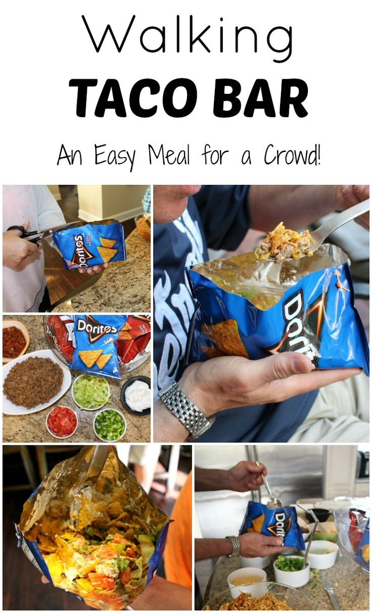 Walking Taco Bar - An easy meal for a crowd. Great idea for your 4th of July party!