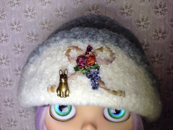 OOAK Grey felted wool clouche hat for Blythe by TinyTwirlySkirts, $85.00