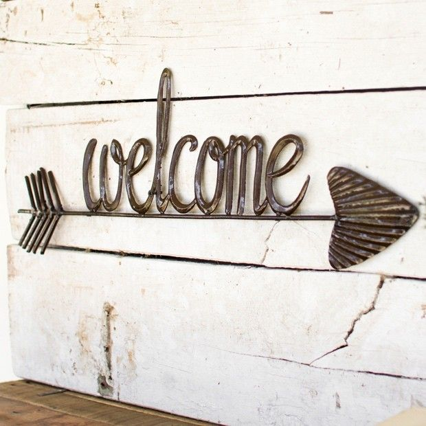 Hand Hammered Arrow Welcome Sign